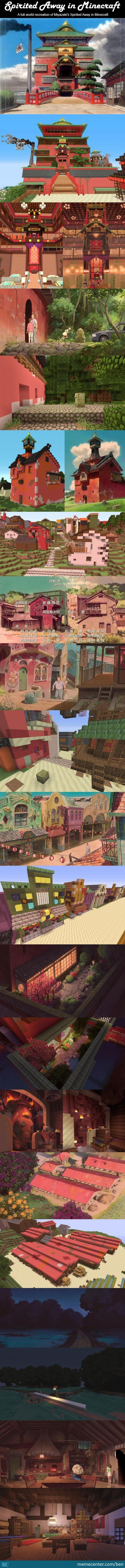A Full-World Recreation Of Miyazaki's Spirited Away In Minecraft