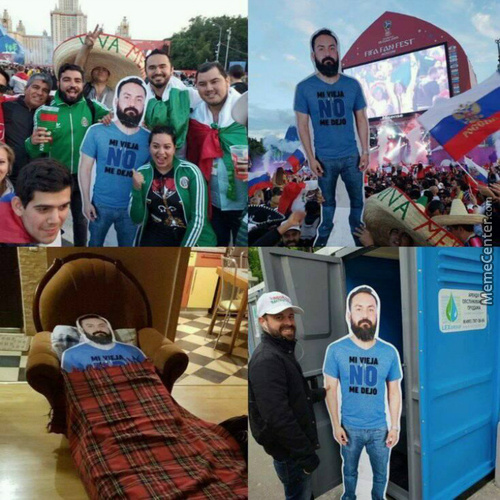 A Group Of Mexican Fans Came To Russia For The World Cup 2018 With A Cardboard Photo Of Their Friend Whose Wife Didn'T Let Him Go...