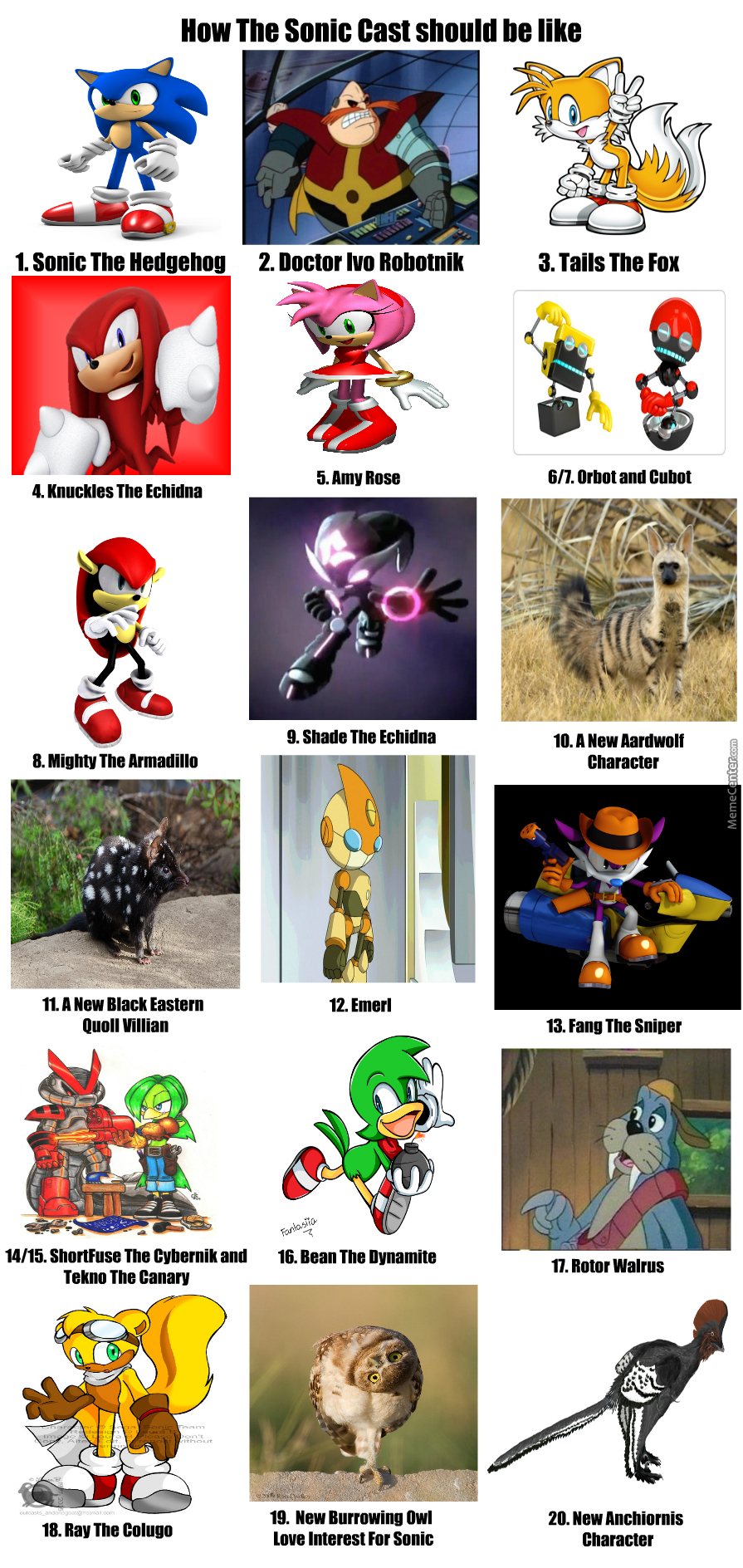 A Ideal Sonic Character Cast By Tharandomanchiornis1 Meme Center