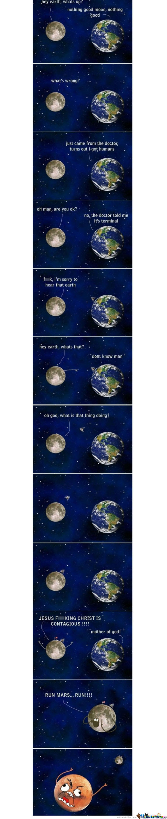A Little Story About The Earth, The Moon And Mars