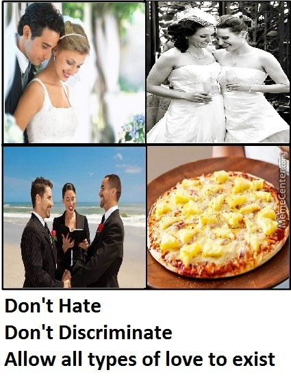 A Man Can Love A Man, A Woman Another Woman, So Why Not Pizza And Pineapple People!?