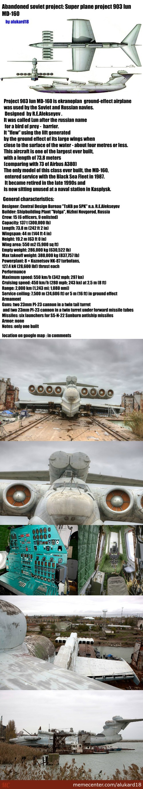 Abandoned Soviet Project: Super Plane Project 903 Lun Md-160