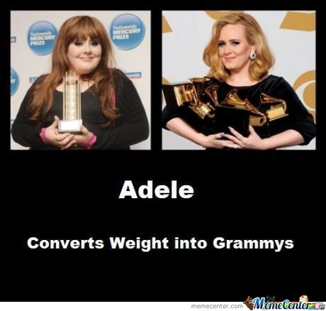 Adele: Converts Weights Into Grammys.