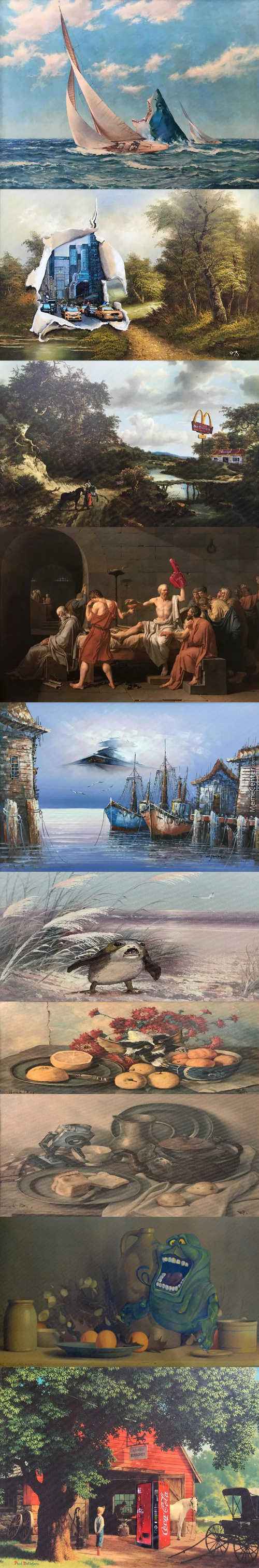 Altered Artwork 3 Thrift Store Paintings Re Imaged By Dave Pollot