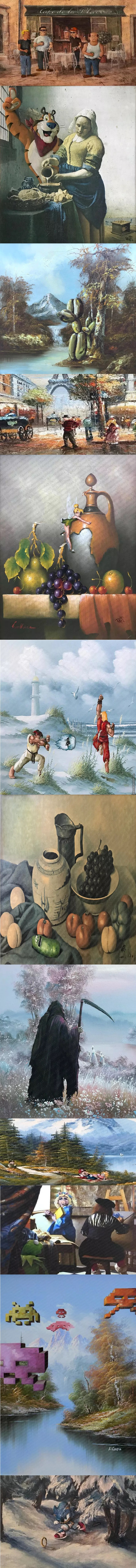 Altered Artwork 5 Thrift Store Paintings Re Imaged By Dave Pollot