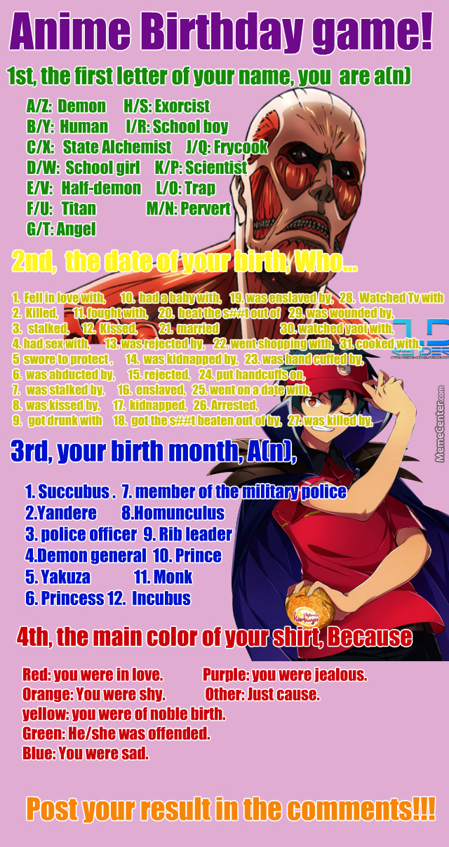 Anime Characters Birthday September 5 : Anime birthday game no by gandalf cow meme center