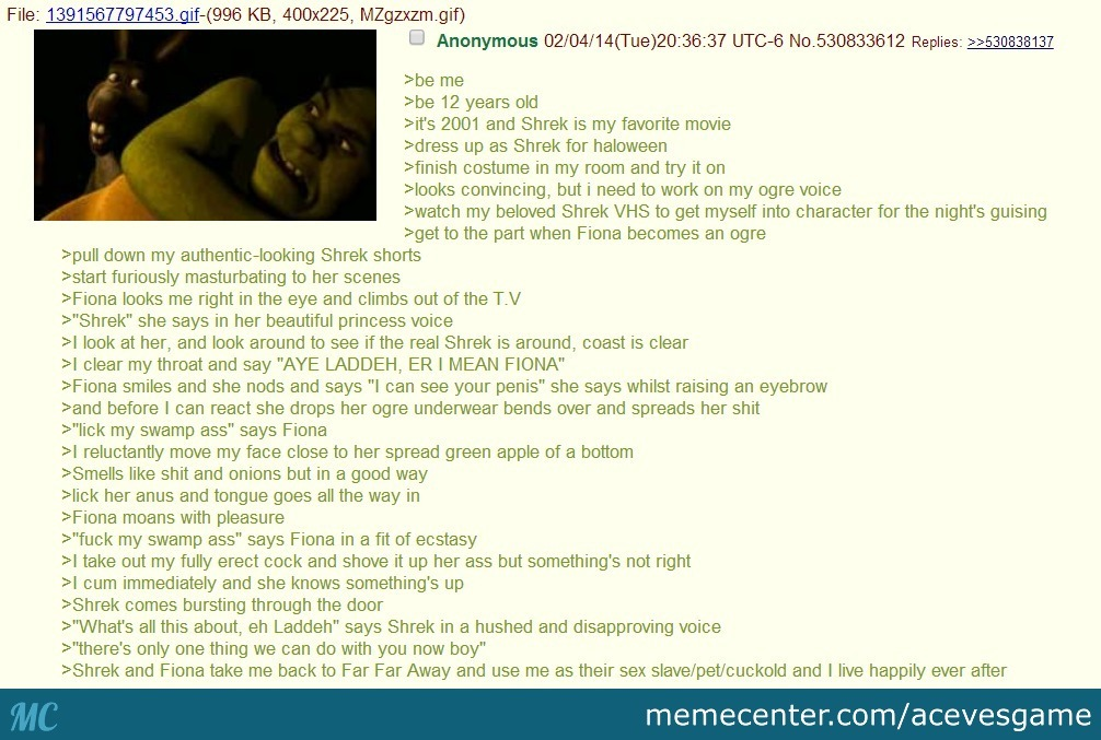 Another Shrek Fanfiction From 4chan By Recyclebin Meme Center