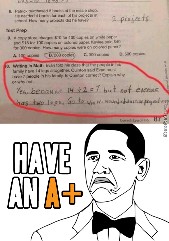 Fun Meme Questions : Answering test questions like a boss by totally random