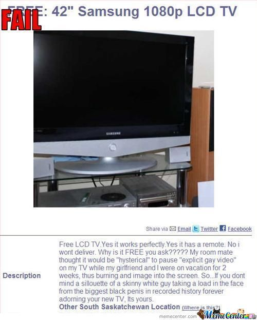 Anyone Needs A Free Lcd Tv?