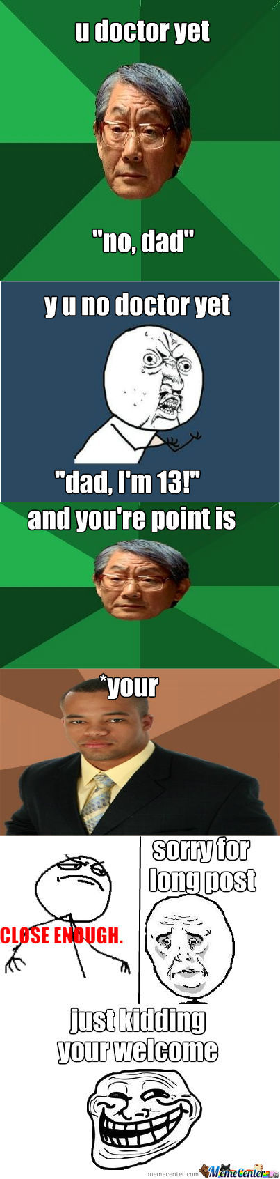 Asian/rage Comic/ Close Enough/ Troll/ Y U No / Sorry/ Black Guy