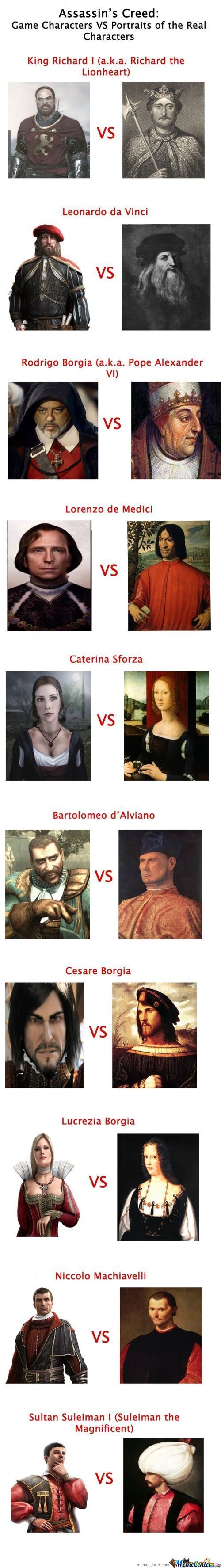 Assassin's Creed: Game Vs Real Characters