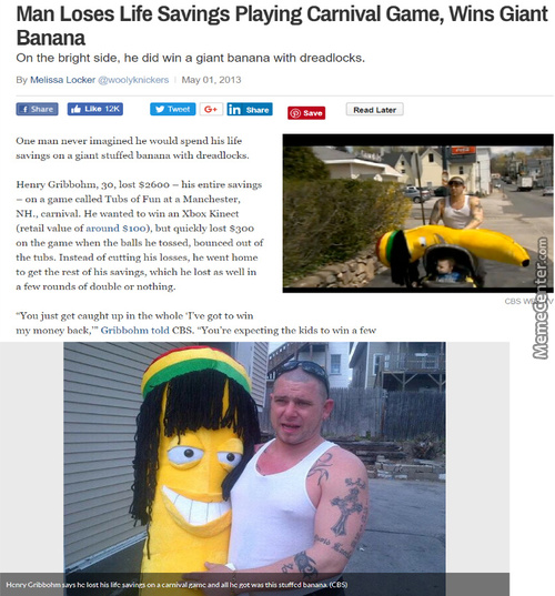 At Least He Got A Large Cool Banana For All His Efforts