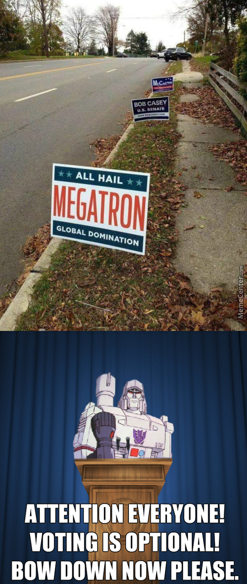 At Least Megatron Has A Handle On Politics.