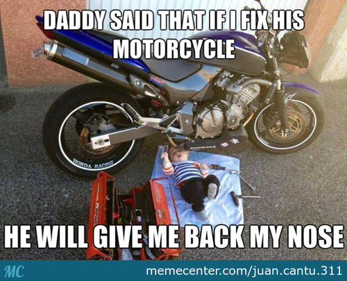 Baby Fixing Motorcycle