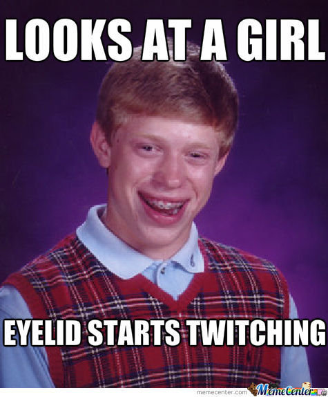 "Bad Luck Brian ""winking"""