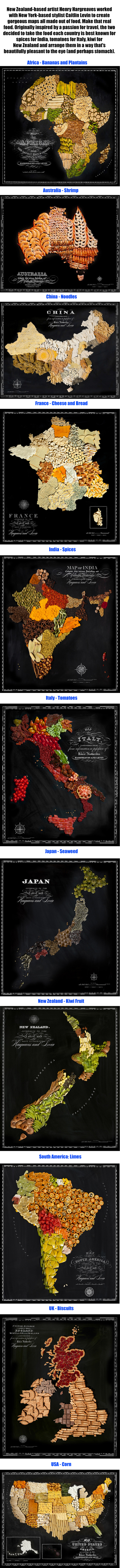Beautiful Maps Of Countries Made Out Of Real Food