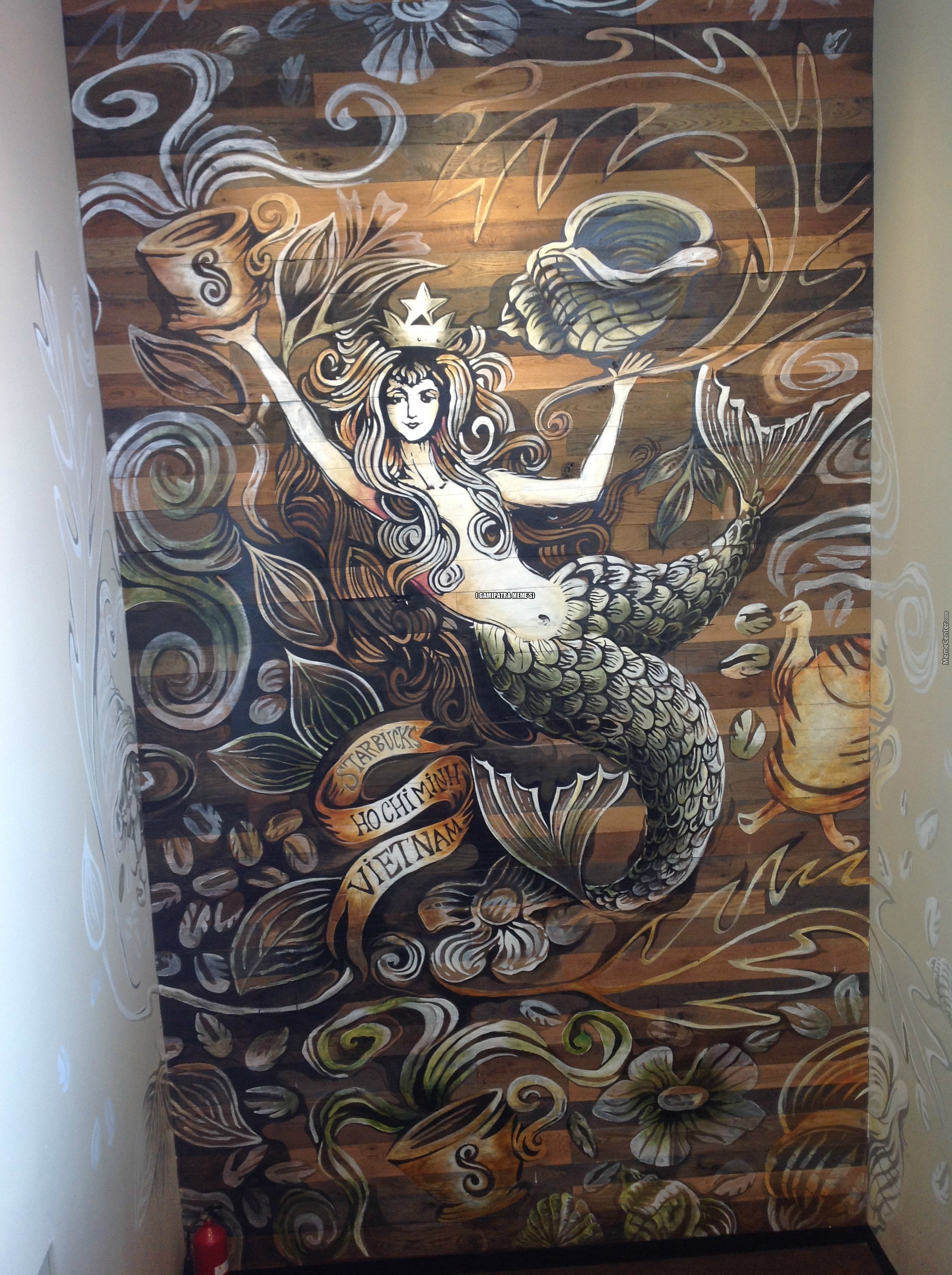 Beautiful Starbuck's Logo Painting I Found In Vietnam Unsure Who Is The Artist