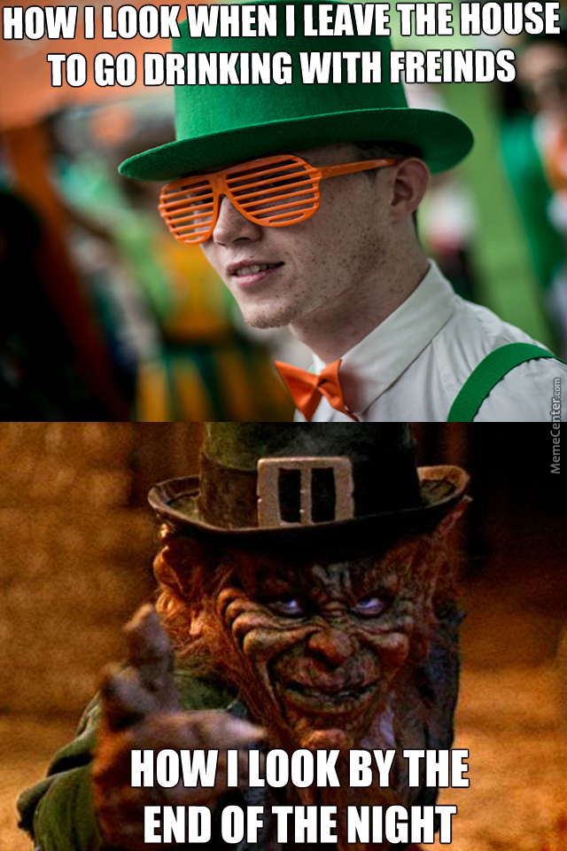 Before/after Drinking On St.patrick's Day