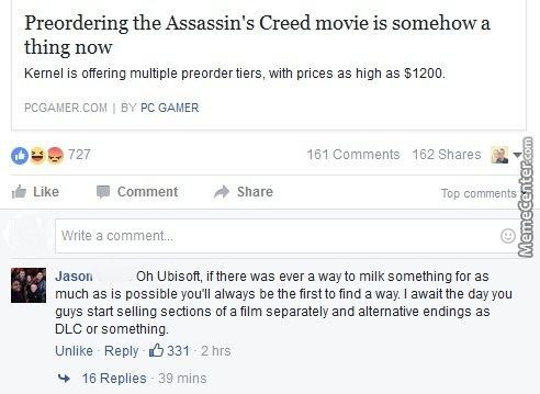 Best Comment I Saw On Facebook Today Assassins Creed By Dawn031