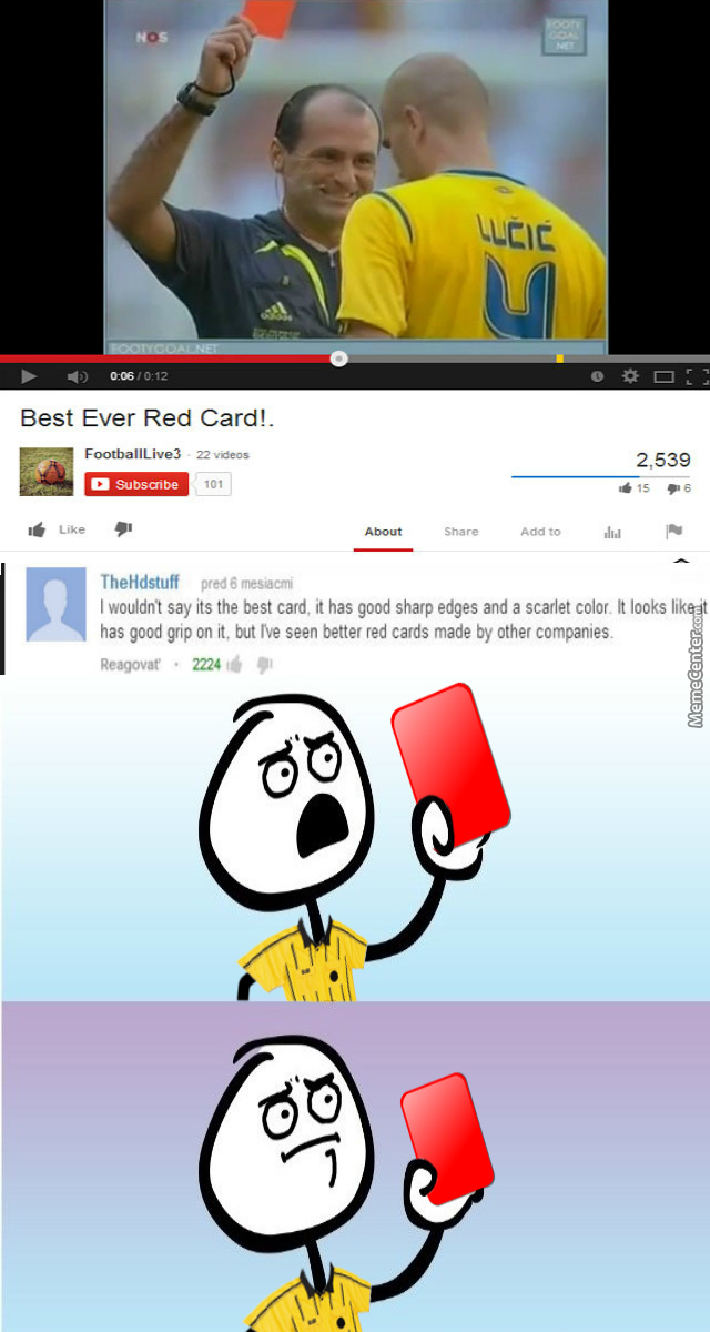 best red card by doulla meme center