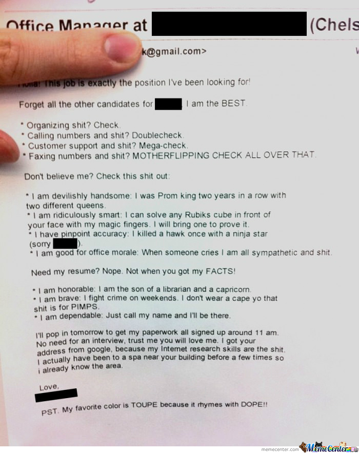 Best Resume Cover Letter Submitted Yet By Recyclebin Meme Center