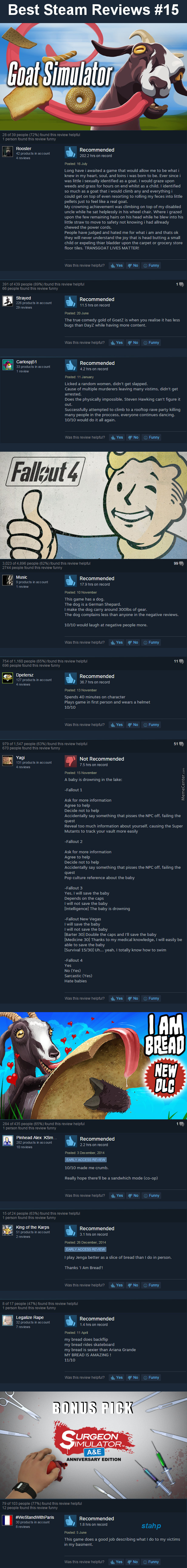 Best Steam Reviews #15 - The One With Fallout 4 In It by