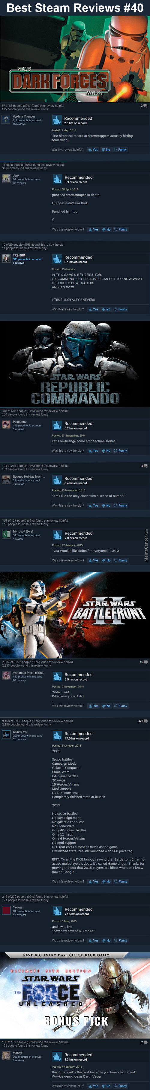 Best Steam Reviews #40 - May The 40Th Be With You.
