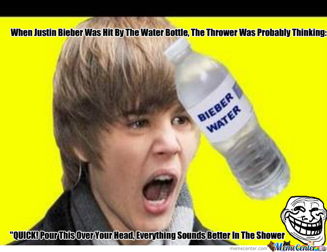Bieber Hit By Water Bottle