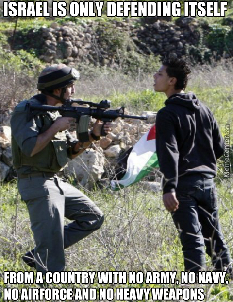 Brave Israel Army Defending Themself From These Evil Kids Who Throw Rocks At Their Tanks.