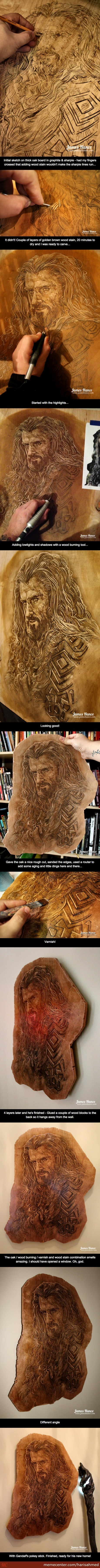 Carving Thorin Oakenshield Into Oak