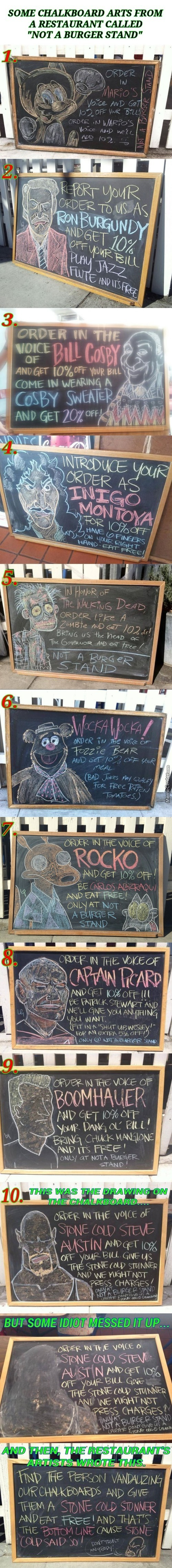 Chalkboard Arts Of Not A Burger Stand Restaurant