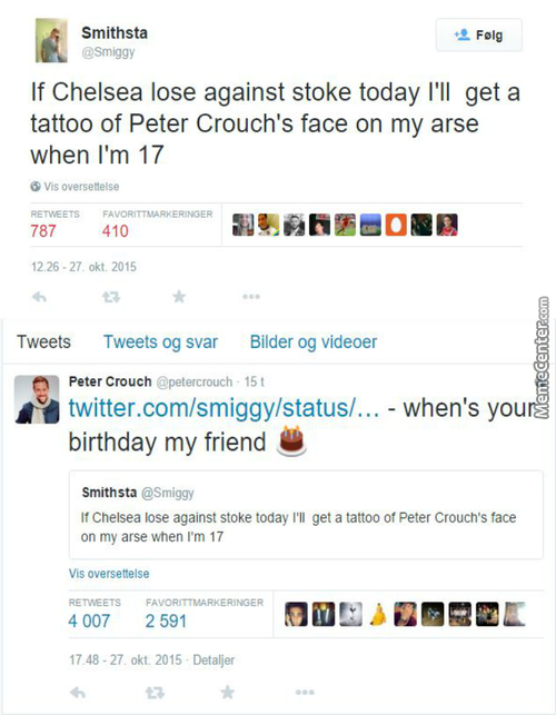 Chelsea Fan Smithsta Is About To Tattoo Peter Crouch Ass