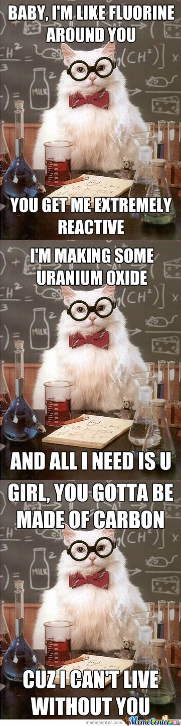 Chemistry Cat's Pickup Lines