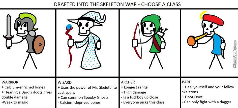 Choose Your Class For The Skeleton War