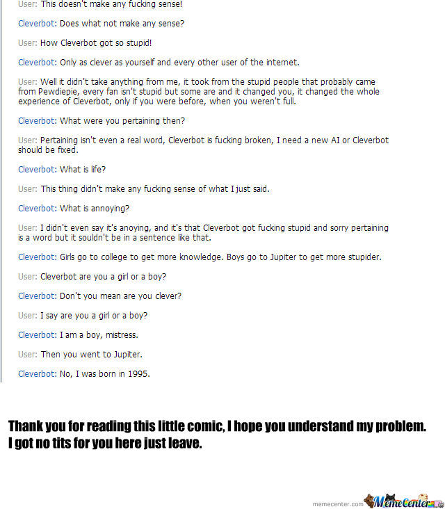 Cleverbot, What The Fuck Happened!?