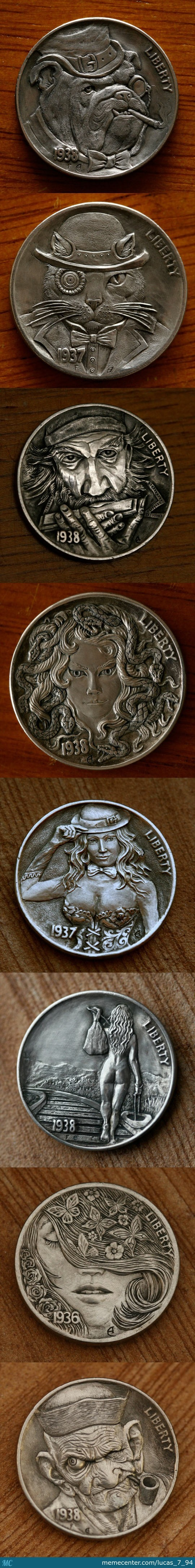 Coins Hand Carved