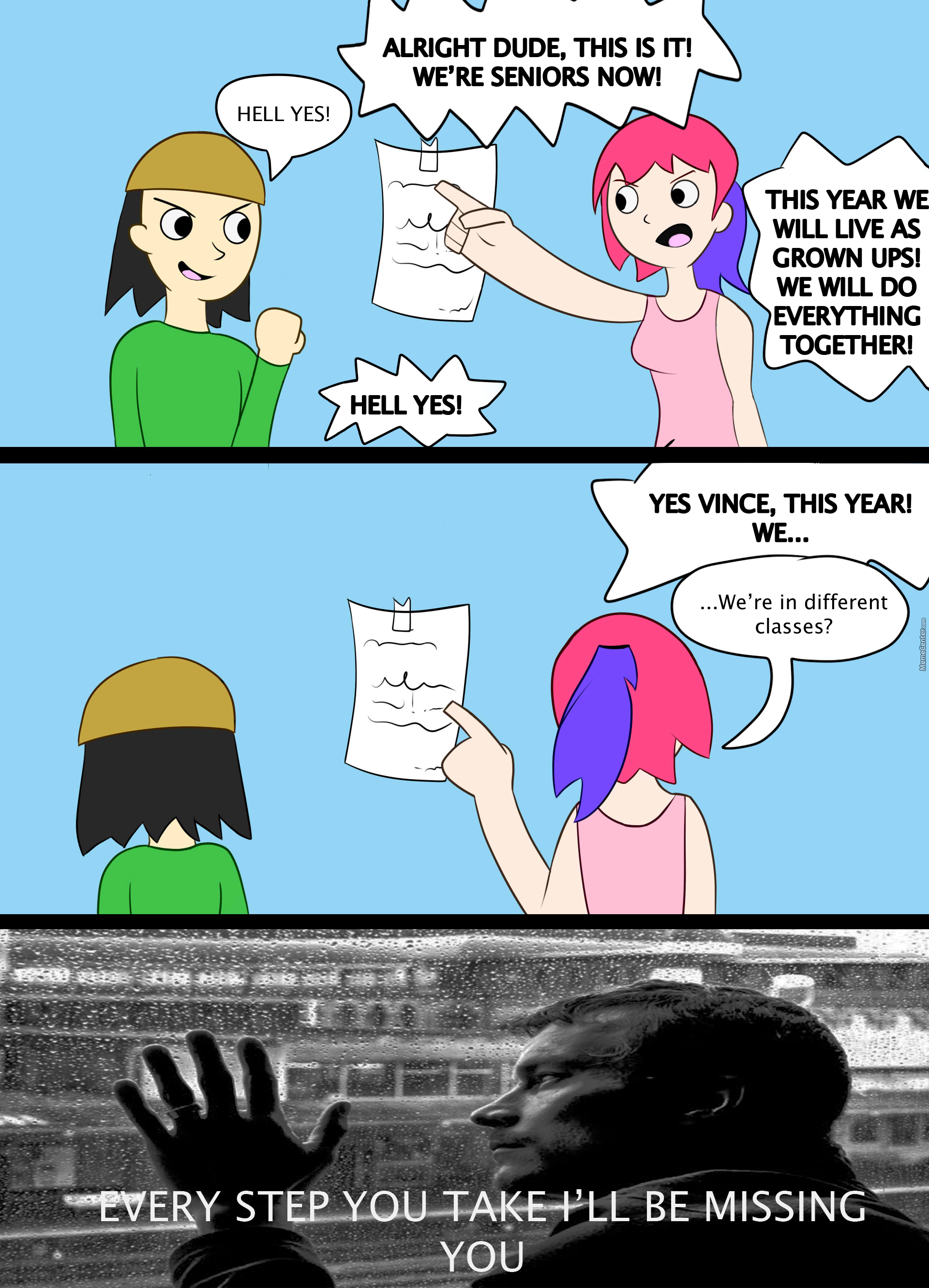 Colored Comic #1: Got My Schedule And My Best Friend Isn't In Any Of