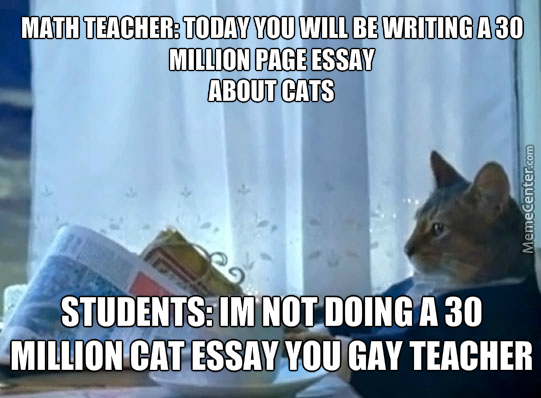 Come On Gay Teacher, Stop Making Us Write A 30 Millon Essay