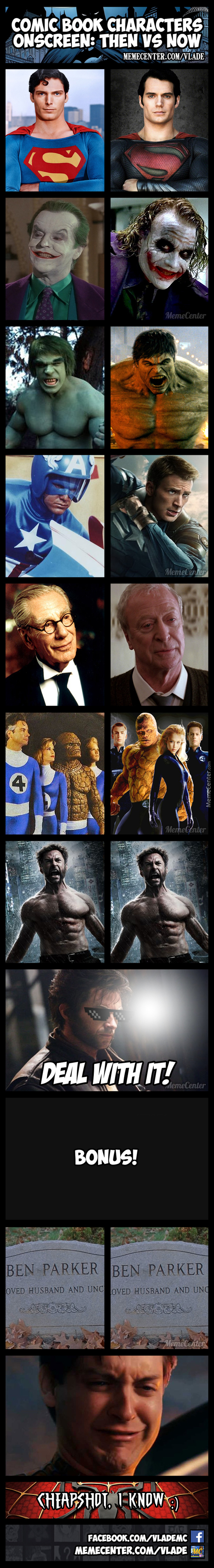 Comic Book Characters Then Vs Now