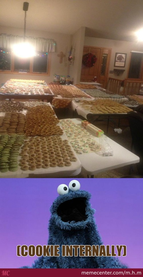 Cookie Monster Think He's In Heaven
