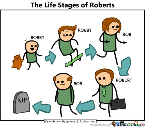 Cyanide And Happiness: The Life Stages Of Roberts.