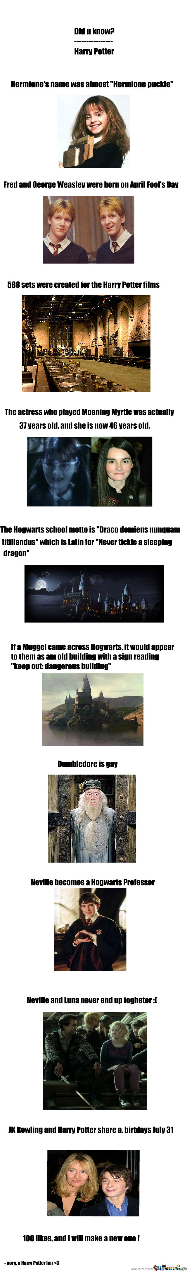 Did U Know? Harry Potter