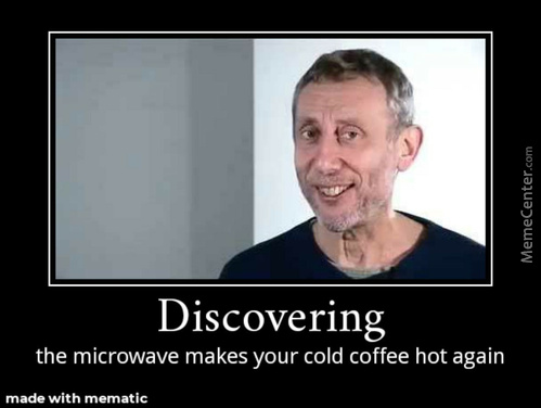 Discovering The Microwave Makes Your Cold Coffee Hot Again.
