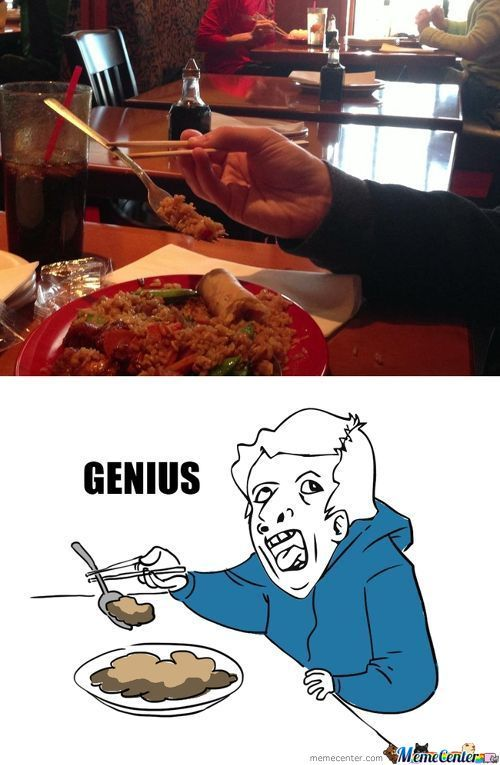 Eating Chinese Food With Fork
