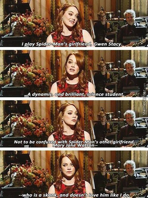emma stone explains the difference between gwen and mary jane_o_3183887 emma stone explains the difference between gwen and mary jane by,Mary Jane Memes