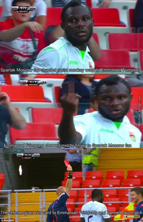 Emmanuel Frimpong Sent Off For Swearing And Middle Finger At Spartak Moscow Fan
