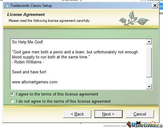 Epic License Agreement Qoute By Nightknight Meme Center