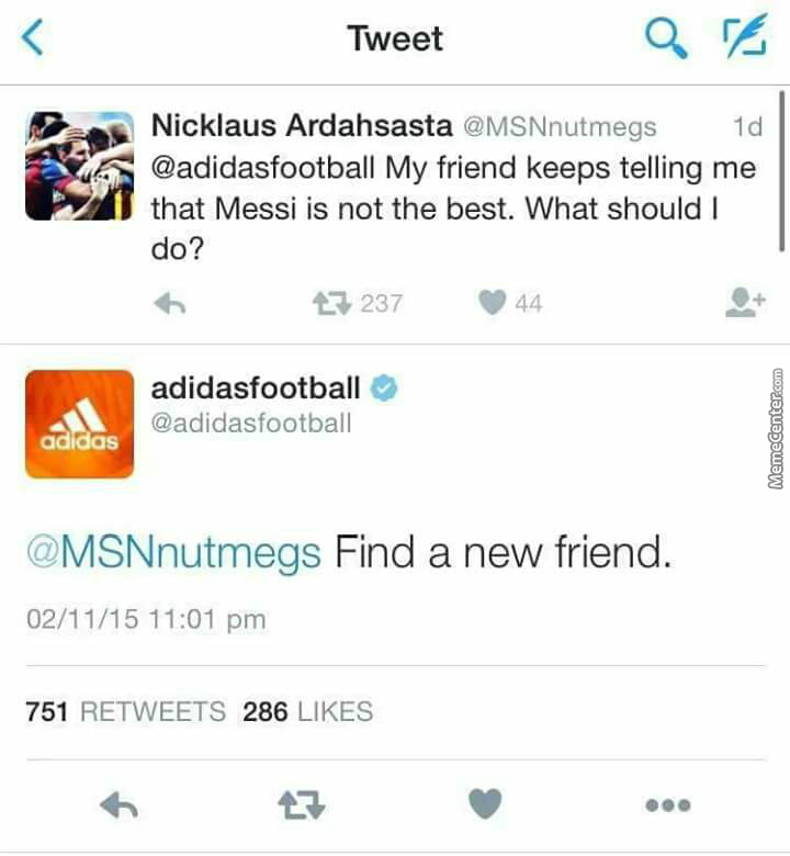 Epic Reply From Adidas Football