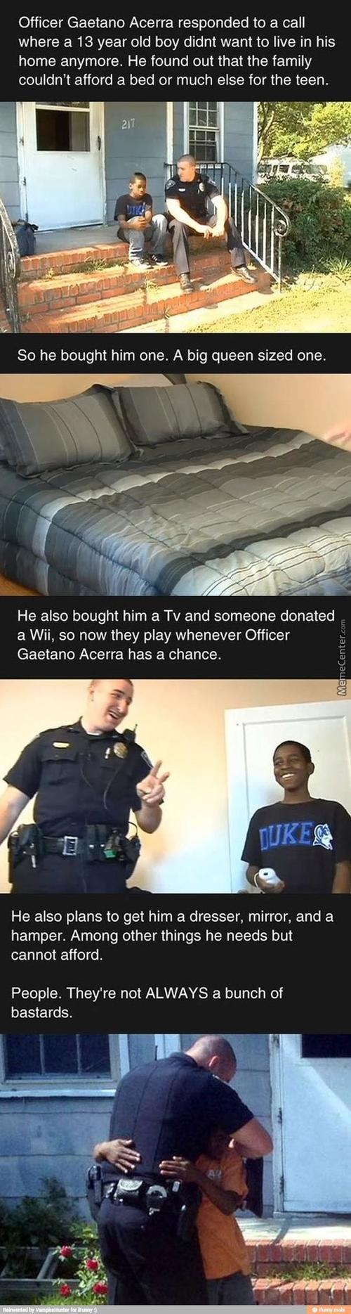Faith In Humanity: Policeman Buys Bed For Boy Who Cannot Afford One