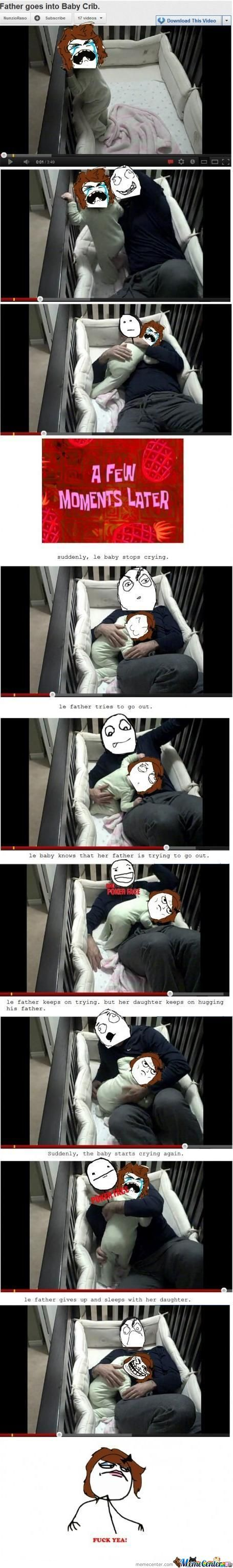 Father Goes Into Baby Crib